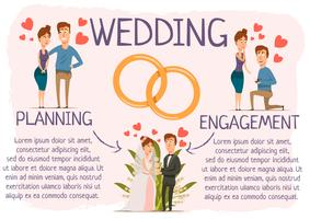 Affiche infographique sur les étapes du mariage vecteur
