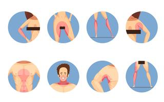 Depilation Zones Man Woman Icons Set vecteur