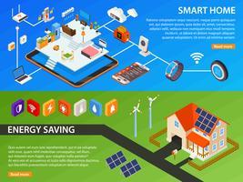 Conception de bannières isométriques Smart Home 2 vecteur
