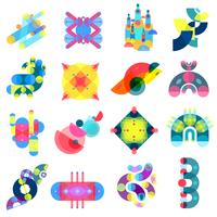 Collection d'icônes de formes de couleur vecteur