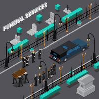 Composition isométrique des services funéraires vecteur