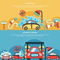Bannières automatiques de lavage de voiture vecteur