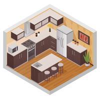 Composition de cuisine isométrique intérieur moderne vecteur