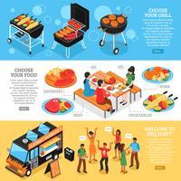 Barbecue 3d bannières isométriques