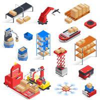 jeu d'icônes de robots d'entrepôt