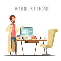 Homme malade, maison, dessin animé rétro, image
