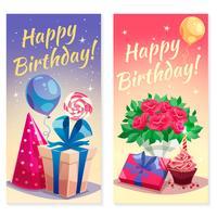 Bannières verticales de fête d'anniversaire vecteur