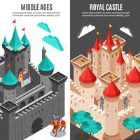 Ensemble de bannières verticales du château royal vecteur