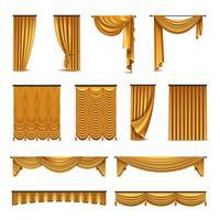 Collection d'icônes réalistes de draperies de rideaux d'or vecteur