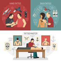 Concept de design de studio de tatouage vecteur