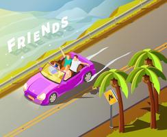 Affiche isométrique de voyage de voiture d'amis