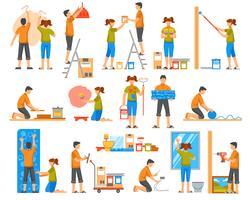 Rénovation à la maison des icônes décoratives de couleur plat