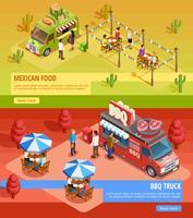 Food Trucks 2 bannières isométriques horizontales vecteur