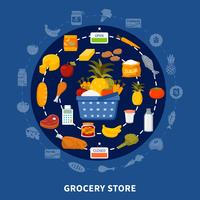 Epicerie Alimentaire Supermarché Rond Composition vecteur