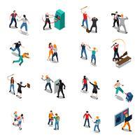 Icônes isométriques de hooligans de rue vecteur