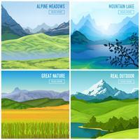 Ensemble de compositions de paysage de montagne vecteur