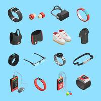 ensemble d'icônes isométrique de technologie portable