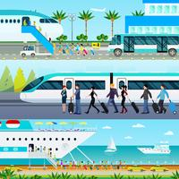Ensemble de bannières de modes de transport