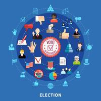 Ensemble d'icônes circulaire de vote en ligne