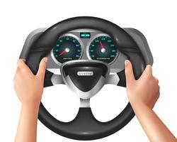 Conducteur réaliste de mains isolées dans la voiture vecteur