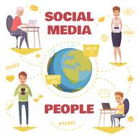 Personnes dans le concept de design de médias sociaux vecteur