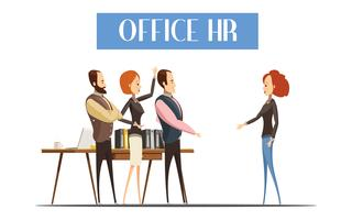 Illustration de style de bande dessinée de bureau HR vecteur