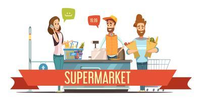 Les clients à l'illustration de dessin animé de caisse de supermarché