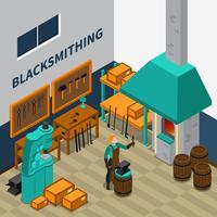 Affiche isométrique d'intérieur du Blacksmith Shop Facility vecteur
