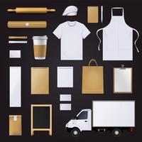 Ensemble de conception de modèle d'identité d'entreprise boulangerie vecteur
