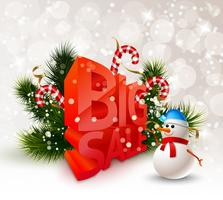 Affiche de grande vente d'hiver festif