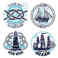 Collection d'emblèmes marins vecteur