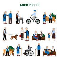 Ensemble de personnes âgées vecteur