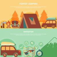 Equipement de randonnée et accessoires de navigation pour camping forestier vecteur