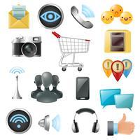 Collection d'icônes d'accessoires de symboles de médias sociaux