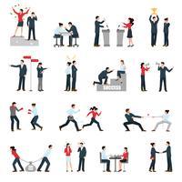 Business Confrontation personnes plats Icons Set vecteur