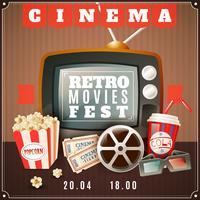 Affiche d'annonce de festival de films rétro de cinéma vecteur