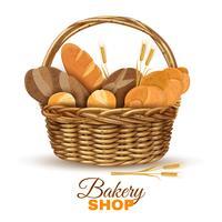 Panier de boulangerie avec pain image réaliste vecteur