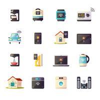 Internet des objets rétro Icons Set vecteur