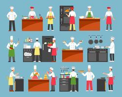 Jeu d'icônes décoratives de cuisine professionnelle vecteur