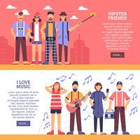 Bannières horizontales hipster vecteur