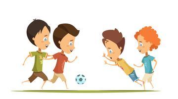 Garçons jouant au football Cartoon Style Illustration