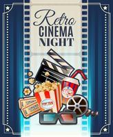 Affiche d'invitation de nuit de cinéma rétro vecteur