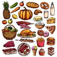 Collection d'aliments dessinés à la main vecteur