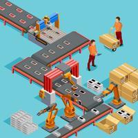 Affiche isométrique de chaîne de production automatisée