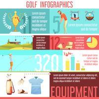 Affiche de bande dessinée rétro Golf Sport Infographic