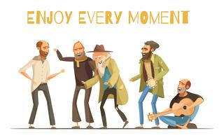 Illustration de joyeux sans-abri vecteur