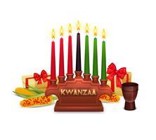 Composition de symboles de célébration de vacances de Kwanzaa vecteur