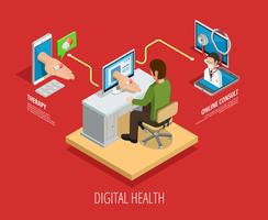 Modèle isométrique de soins médicaux en ligne numérique vecteur