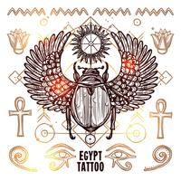 Illustration de tatouage occulte en Egypte vecteur
