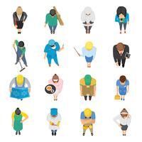 Métiers vue de dessus icônes colorées ensemble vecteur